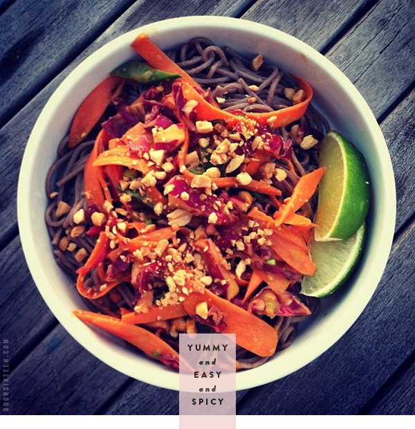 Spicy Peanut Sauce With Brown Rice Noodles And Veggies ...