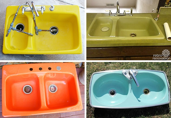 brightly colored kitchen sinks door sixteen