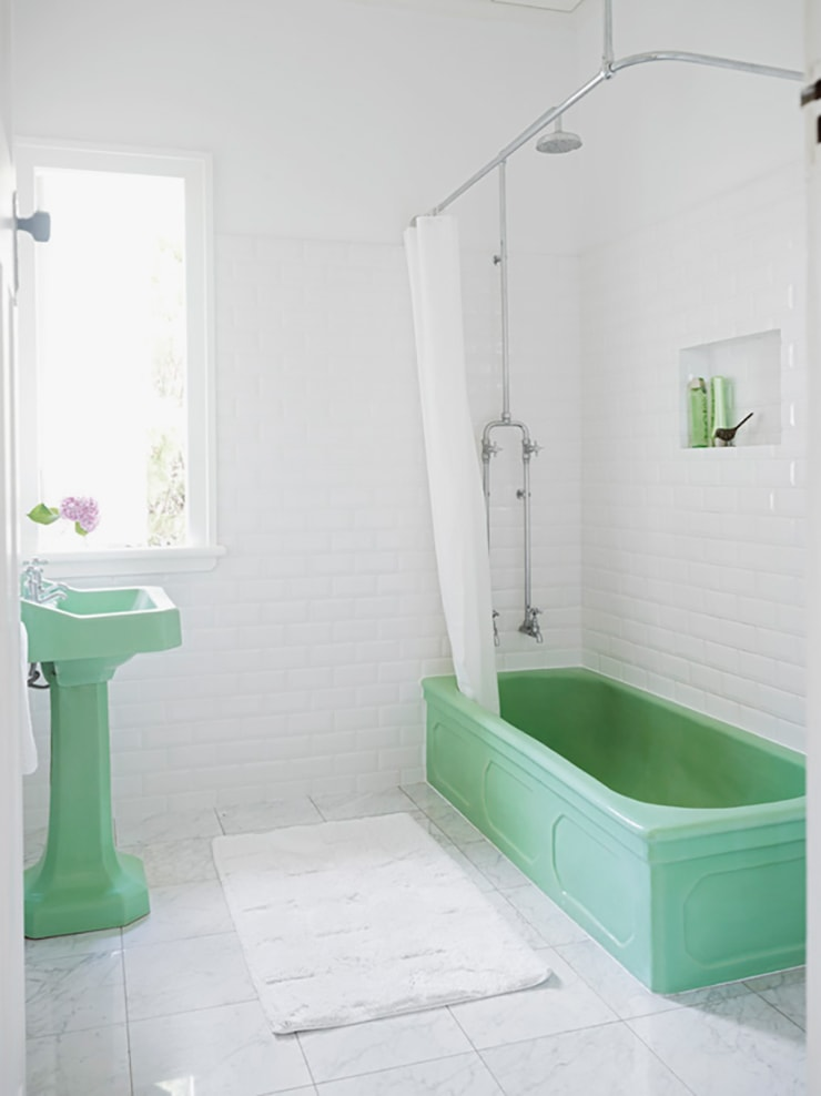Mint Green Bathroom Design : Mint green bathrooms door sixteen
